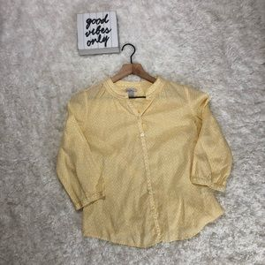 Old navy yellow & white pattern blouse size Small